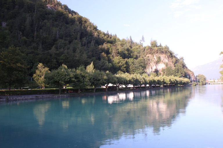 Aare river flows between two lakes